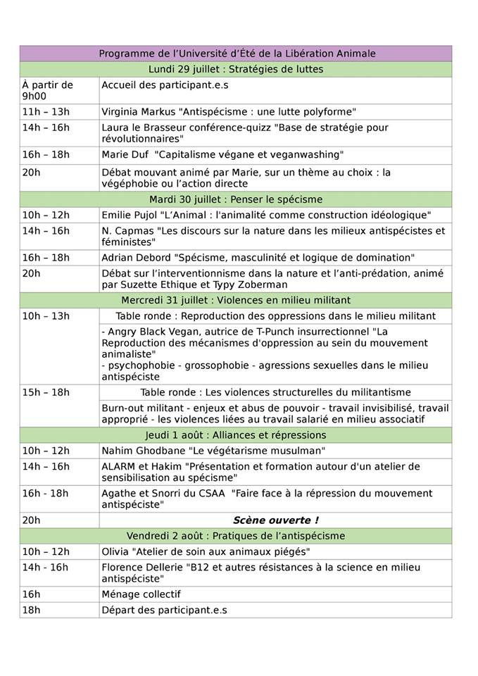 Programme UELA 2019